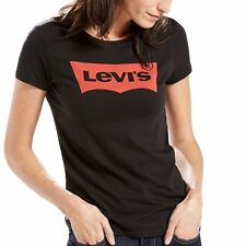 Levi's Women's Slim Crew Neck Tee Shirt SMALL Core Batwing BLACK (100% Cotton)