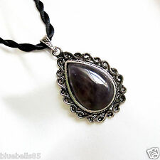 Large Genuine Cloudy AMETHYST Teardrop Shape PENDANT & Twisted Cord Necklace