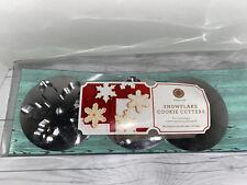 "Martha Stewart SNOWFLAKE COOKIE CUTTERS. 3 different designs 5"" Metal Silver"