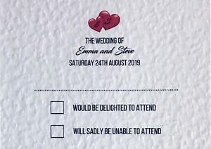 10 Personalised Wedding RSVP Cards with Optional Envelopes and Choice of Colours