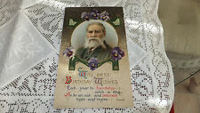 Antique Rare Birthday Post Card embossed violets gold man Lowell  John Winch