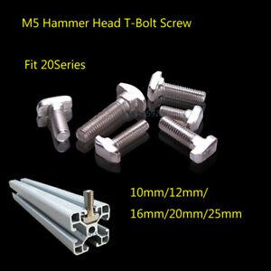 M5 Hammer Head T-Bolt Slid Screw F 2020 Aluminium Extrusion Profile 20mm Slot 6