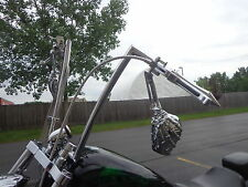 CUSTOM CHOPPER BOBBER BLACK SKELETON HAND MIRRORS HANDLE BARS