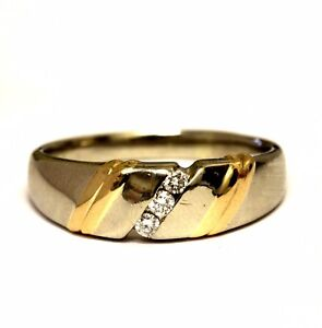 14K white yellow gold .11ct SI1 H diamond mens wedding band ring 8.2g estate