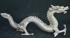 Collectable Exorcism Handwork Miao Silver Carve Vivid Dragon Lucky Noble Statue