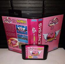 Kirby in Sonic the Hedgehog - Video Game for Sega Genesis! Cart & Box!