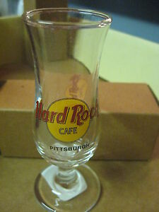 "Hard Rock Cafe 4"" Tall Double Shot Glass & Box Small Hurricane Pittsburgh # 45"