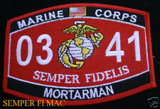 MOS 0341 MORTARMAN PATCH US MARINES USMC IRAQ VIETNAM 120MM PVT-SGT WEAPONS PLT