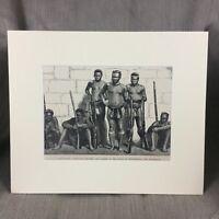 1890 Victorian Print Zulu War Warrior Battle Rorkes Drift Original Antique