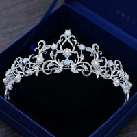 Light Blue Crystal Wedding Crown Princess Prom Tiara Bridal Rhinestone Headdress