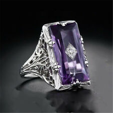 Huge Princess Cut 5.2CT Amethyst Women 925 Silver Ring Jewelry Engagement Sz5-11