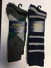 Polo Ralph Lauren Men's Classic Crew Socks Yellow With Navy Logo Size 10-13 NWT