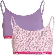 GIRLS 2 Pack Modern Cotton String Bralette, White Logo Print / Chalk Violet