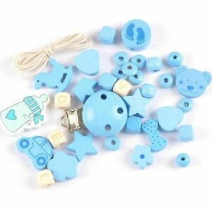 DIY Dummy Pacifier Chain Clip Making Baby Wood Loose Beads Soother Jewelry Toys
