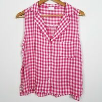 Abound Nordstrom Womens White Pink Gingham Plaid Button Front Top Sleeveless NWT