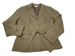 🦋 Talbots Viscose/Linen/Cotton Pants Suit Sz 14 Lined, Belted Khaki Brown