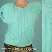 VTG 80s Green cable knit pull over sleeveless sweater top shirt Sz S