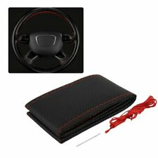 Auto Car Steering Wheel Cover With Needles And Thread Leather Car Cover Suite^RC