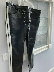 Men's Genuine Black Leather Pouch Biker Pants Fetish