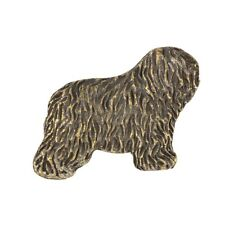 Polish Lowland Sheepdog - Bobtail, silver covered pin, high qauality Art Dog Ca