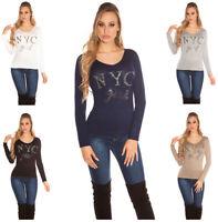Maglia donna manica lunga maglietta strass e borchie maglione blusa scollo a V