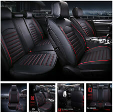 PU Leather 5-seat Car Front Seat+3 in 1 Rear Row Seat Cover Protector w/Pillows