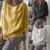 ZANZEA Women Long Sleeve Round Neck Casual Plain Blouse Shirt Tops Oversize Tee