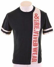 DOLCE & GABBANA Mens Graphic T-Shirt Top Medium Navy Blue Cotton  ML05