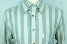 Ben Sherman Mod Fit Shirt XL Wood Buttons Hipster Vintage Style Gray Blue Stripe