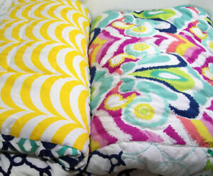 Pottery Barn Teen Multi Colors Palm Springs Patchwork Full Queen Quilt New