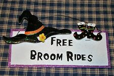 Cheerful Halloween sign~ Free Broom Rides~tin with witches hat and shoes