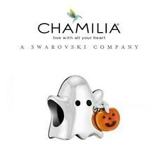 Genuine CHAMILIA 925 Silver HALLOWEEN Trick Or Treat GHOST & PUMPKIN Bead Charm