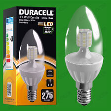 12x 3.7W Dimmable Duracell LED Clear Candle Instant On Light Bulb SES E14 Lamp