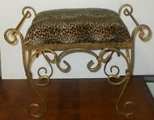 Metal Iron Distressed Gold Vanity Chair Stool Bench