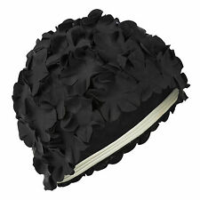 Black Flower Petal Ladies Swimming Hat Vintage Style Retro