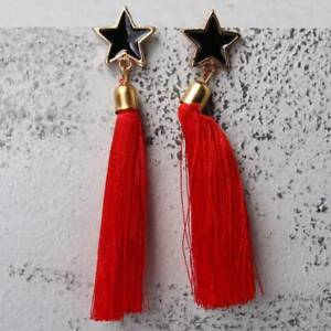 Women Fashion Long Style Elegant Pentagram Shape Tassel Dangle Earrings C