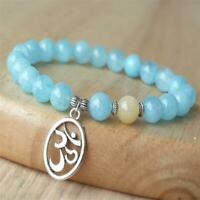 8mm Natural Aquamarine Bracelet Cuff Lucky Tibet silver Gemstone Bead 7.5inches