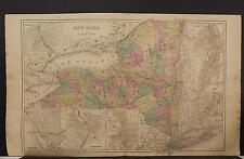 New York State Map, 1868 Insets of Buffalo Syracuse Rochester Troy & more P3#04