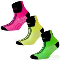 3 Pairs More Mile Lumino Lite Cushioned Hi Viz Sports Running Socks Mens Ladies