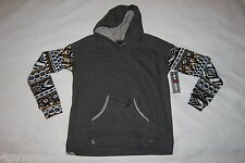 Womens PULLOVER HOODIE Gray Body AZTEC PRINT SLEEVES Black Blue Olive S 4-6