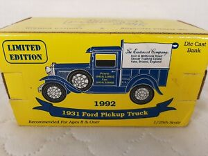 1992 The Eastwood Company 1/25 Scale 1931 Ford Pickup Truck Diecast Bank