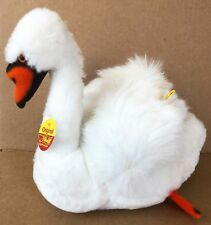 """Steiff Swan 7"""" Rare Plush White Made in Western Germany 2612/20 - Exceptional!"""