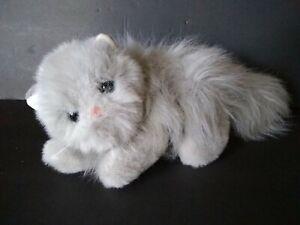 "Ty Puffy Persian Gray Cat Classic Plush 15"" 1995 Pink Ribbon 1003"