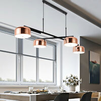 Rose Gold Dome Shade 4 Lamps Rotating Kitchen Island Ceiling Pendant Light Black