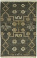 "Wool Charcoal Rug 2'x3' vintage Hand Knotted Kazak Oriental 1'11""X2'11"" Carpet"
