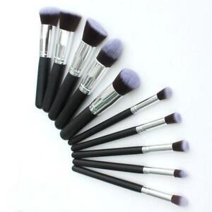 New Kabuki Soft Bristles 10 Pcs Foundation, Contour, Powder, Blush, Eyeshadow.