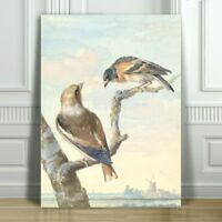 "VINTAGE BIRD ART - Two Birds in an Apple Tree - CANVAS ART PRINT POSTER - 32x24"""