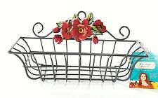 """Pioneer Woman Wire Wall Basket red flower coated wire 9.75""""W x 4.75:H x 3.5""""D"""