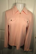 St. John Collection Jacket, 10, Light Pink, zipper front, Long sleeves