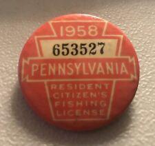 Vintage 1958 Pa Fishing Resident License